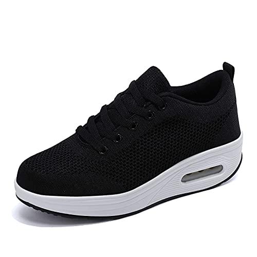 Zapatillas cuña Mujer Deportivas cuña Mujer Zapatos Deporte Gimnasio Zapatillas de Running Ligero Sneakers Cómodos Fitness Zapatos de Trabajo Negro D 38EU