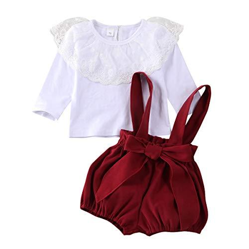 3 pièces Ensemble d'été élégant pour petite fille, chemise blanche à manches courtes, avec dentelle + pantalon plissé à bretelles élastiques, rouge + bandeau nœud 0 – 24 mois, Blanc A, 18- 24 Mois