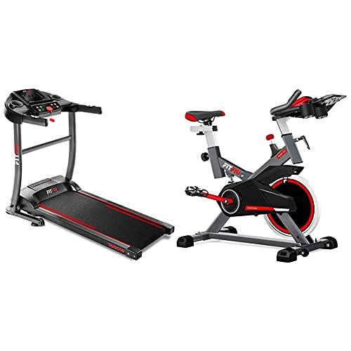Fitfiu Fitness MC-200 Cinta de Correr Plegable con Velocidad hasta 14 km/h + BESP-100 Bicicleta Indoor con Disco de inercia de 16 kg y Resistencia Regulable