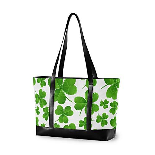 LZXO Laptop-Tasche, (15,6 Zoll), Glücksklee Muster, große Schultertasche, Reißverschluss, leicht,Handtaschen