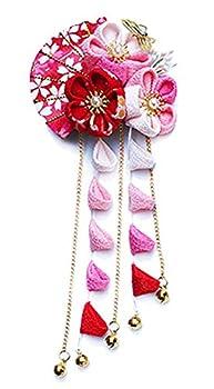 CRB Fashion Womens Girls Japanese Kimono Flower Kanzashi Hair Ornament Tie Band Clip  Pink