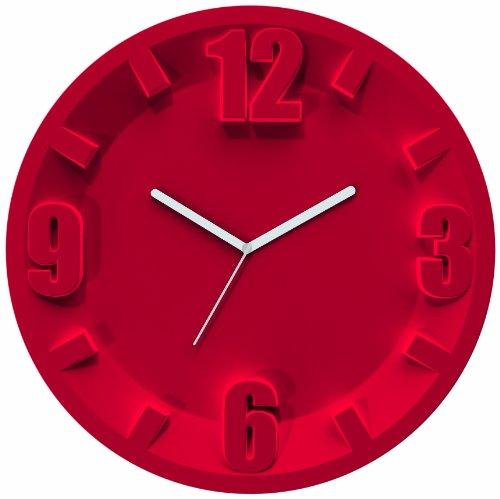 Guzzini Home Orologio da Parete, Modello 3-6-9-12, San/Meccanismo, Rosso, 31.5x30x3.5 cm