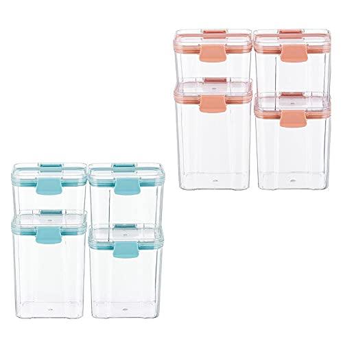 Dracod Recipientes herméticos de plástico con tapa, juego de 8 unidades, caja de almacenamiento para cocina, para cereales, aperitivos y azúcar, color azul + rosa