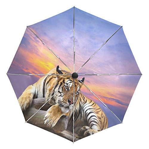 Wamika Tiger Rock Automatischer Regenschirm Sonnenuntergang Tier Winddicht Wasserdicht UV-Schutz Reise Regenschirm - 3 Falten Auto Öffnen/Schließen Knopf Sonne & Regen Auto Regenschirm