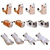 Yueser 12 Piezas Palillos de Cerámica Descanso Estilo Japonés Gato de Palillos...