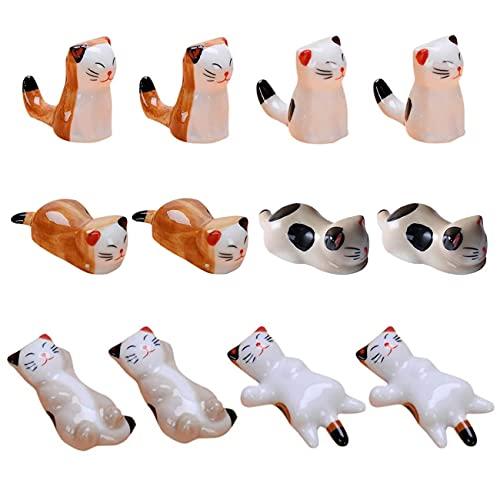 Yueser 12 Pezzi Poggia Bacchette in Ceramica per Gatti,Poggia Bacchette per Gatti in Ceramica Giapponese Animale Squisito Supporto per Gatti Carino Decorazione del Ristorante Casa