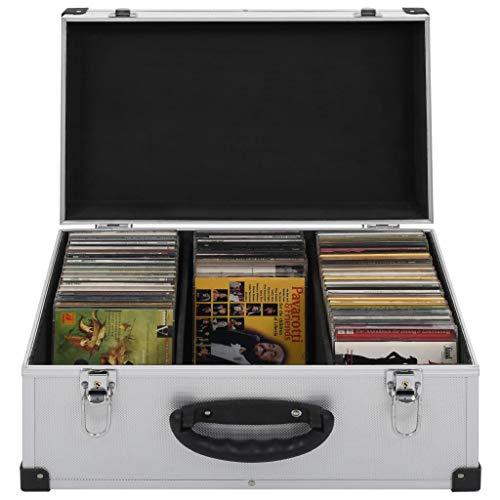 Festnight Estuche Porta CD Maletín para 60 CD Aluminio y ABS Plateado 43 x 29,5 x 18,5 cm