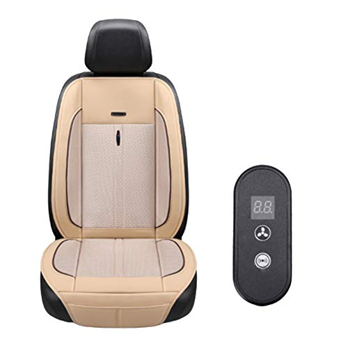 QMMB Multifunktion Autositzbezug, Autositzbezug Universal, Massage Sitz 3 Speed Windgeschwindigkeit Breath Refreshing, Kann Für 12V / 24V Auto Verwendet Werden,Beige,12V