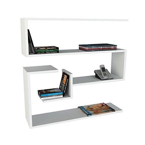 Alphamoebel Confier 0189 - Libreria sospesa da parete in legno, con ampio spazio di archiviazione, 90 x 87 x 22 cm
