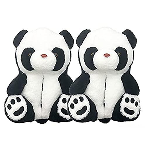 XMxx Zapatillas de peluche para interiores y interiores, unisex, de piel sintética de animales lindos, suaves, difusas y cálidas para invierno, panda