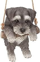 Design Toscano Mini Schnauzer Puppy on a Perch Dog Hanging Sculpture, 8 Inches, Full Color