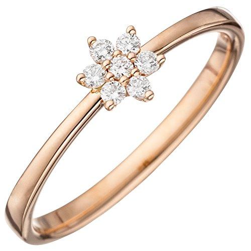 JOBO Damen-Ring aus 585 Rosegold mit 7 Diamanten im Stern-Motiv Größe 56