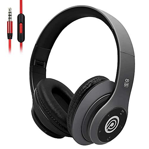 8Sワイヤレスヘッドホン Bluetooth 5.0ヘッドセット ノイズキャンセリングヘッドホン 40時間再生 急速充電 有線/無線用 マイク付き USB-C充電 Hi-Fiステレオ折りたたみ 密閉型 iPhone/Samsung/iPad/PC用(グレー)