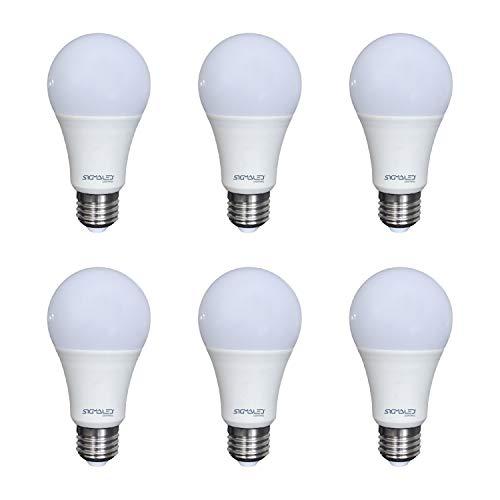 SIGMALED LIGHTING PACK 6 LAMPADINA LED E27 LUCE CALDA 9W (=60W), 810 lumen, A60. Lampadina piccola con luce bianca calda 2800K, Classe di efficienza energetica A+, Dimensioni 60x120mm