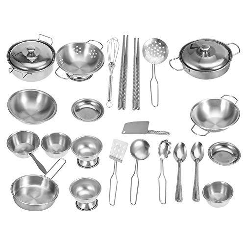 Zerodis Kinder Küche Kochgeschirr Spielzeug Küche Spielzeug Edelstahl Kochgeschirr Kochgeschirr Pan Spielzeug Set für Kinder Jungen und Mädchen(25 Stück)
