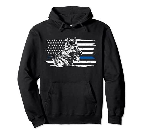 K-9 Unit German Shepherd Dog Thin Blue Line Patriotic Police Pullover Hoodie