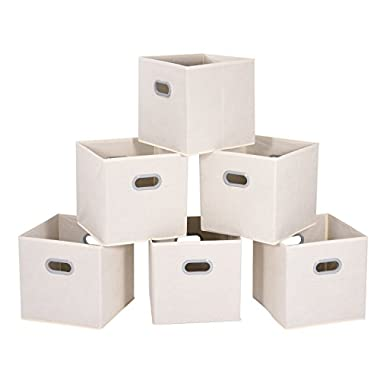 MaidMAX Cloth Storage Bins with Dual Plastic Handles for Home Closet Bedroom Organizers, Foldable, Beige, Set of 6