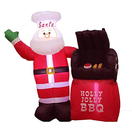 LYYAN Santa Claus Oven with LED Christmas Inflatable 150cm Tall Seasonal Decoration Outdoor Airblown Lawn Ornament Garden