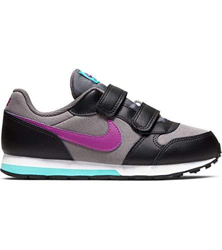 Nike Boys MD Runner 2 (TD) Toddler Shoe, Zapatillas de Estar por casa Bebé Unisex, Multicolor (Gunsmoke/Hyper Violet/Black/Aurora Green 018), 18.5 EU