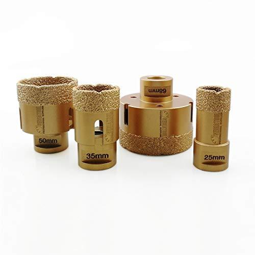 SHDIATOOL 4pcs/set Diamant-bohrkrone Diamanthöhe 15MM für Porzellan Fliese Granit Marmor Trockenbohren Durchmesser 25/35/50/68mm