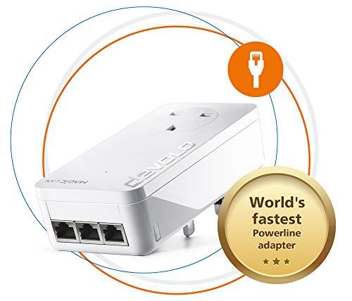 Devolo Magic 2 LAN Triple - Uitbreidingsadapter voor een stabiel thuisnetwerk via stroomlijnen door muren en plafonds, G.hn-technologie, 3 Gigabit LAN-poorten