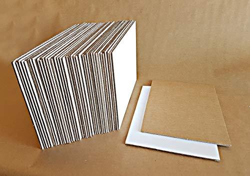 Hojas de Carton Corrugado Marrón-Blanco en tamaño A5 (Pack de 40) Papel Corrugado 3 mm de Grosor para Envíos fotos, Paquetes - Laminas de Papel Ondulado Manualidades