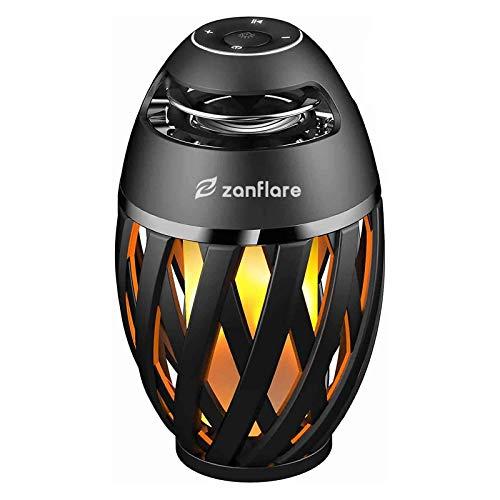 Zanflare Lampe de Chevet avec Enceinte Bluetooth, Lampe de Table Lampe Ambiance avec Effet de Flamme, Haut-Parleur, USB Rechargeable, sans Fil, Etanche IP65 Lampe Design Moderne