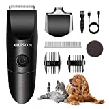 Kilison Dog Grooming Clippers Kit, Low Noise Cordless Electric Rechargeable Pets Hair Trimmers Shaver Shears with 2 Guide Combs + 1 Hair Trimmer+ 2 Blades + 1 Comb, for Dogs, Cats & Pets