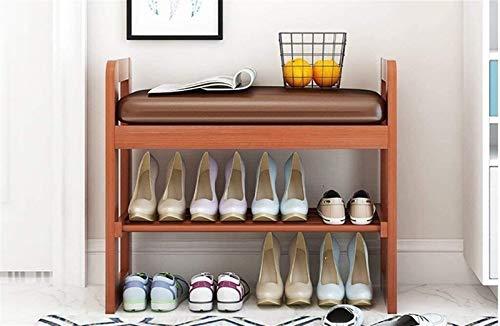 LZYANG Zapatero zapatero de madera, zapatero de 2 plantas con estante para zapatos con asiento acolchado, zapatero de madera