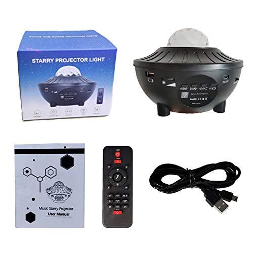 Proyector LED de luces nocturnas – 2 en 1 Ocean Wave Star Sky luz nocturna con altavoz de música Bluetooth, sensor de sonido, control remoto, lámpara de proyector giratoria de 360°