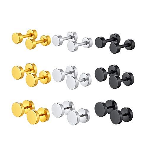 Richsteel 9 Pares Mini Pendientes Redondos 4mm 6mm 8mm Platinos Negro Dorado Pendientes simples para mujeres hombres