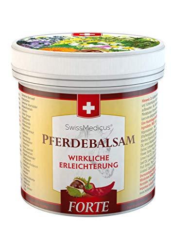 SwissMedicus Pferdebalsam wärmend extra stark - Pferdesalbe Forte 500 ml - wärmendes Massage-Gel für Rücken und Gelenke, ideal für Sportler - enthält 25 Kräuterextrakte