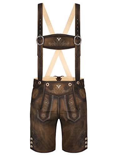 Almbock Kurze Lederhosen Herren braun - Trachtenlederhose Herren kurz aus antikem Nubukleder - Lederhose kurz Herren speckig - Trachtenhose Herren 50