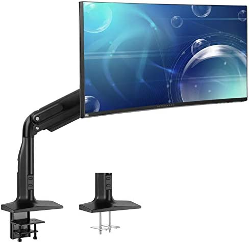 VIVO 17 to 43 inch Aluminum Single Ultrawide Monitor Articulating Pneumatic Arm Mount Clamp product image