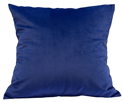 Options Pure Color Solid Velvet Throw Pillow Cases Cushion Covers for Sofa Bedroom Living Room Square (Royal Blue, 16 X 16 Inches)