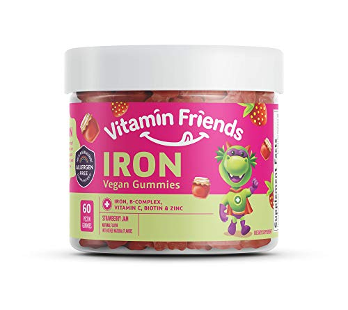 Vitamin Friends Strawberry Jam Flavored Iron Gummies - Vegan (60 Day Supply) - Vegan (60 Day Supply) Ferrous Fumarate B-Complex, Vitamin C, Zinc, Biotin - Iron Kids Gummies Supplement