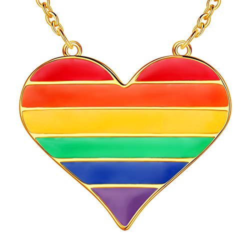 beautlace LGBT Necklaces 18K Gold Plated Rainbow Love Heart Pendant Gay Lesbian Pride Jewelry for Men and Women KP0005Y