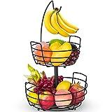 Fruit Basket, Auledio Fruit Bowl 2 Tier Fruit Basket for Kitchen with Banana Hanger, Fruit Bowl for...