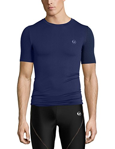 Ultrasport Basic Noam Camiseta de compresión sin Costuras, Hombre, Azul Marino, S/M