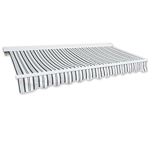 Jawoll Kassetten-Markise 4 x 2,5 m grau-weiß (Profilfarbe: Weiß) Sonnenschutz Alu Markise Schattenspender Sonnensegel Hülsenmarkise Gelenkarm-Markise