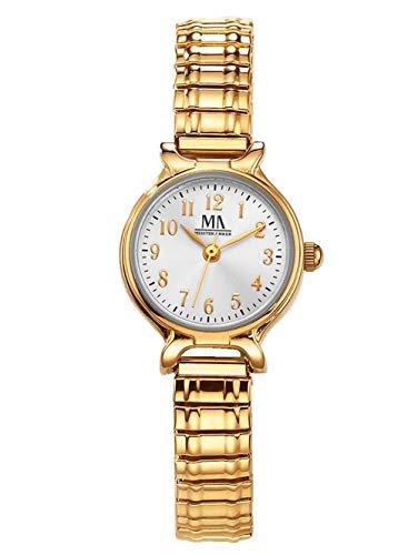 Meister Anker Damen Analog Uhr in Metall mit Armband in Gelb aus Edelstahl
