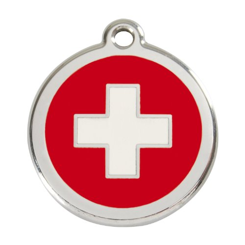 Red Dingo Custom Engraved Stainless Steel and Enamel Dog ID Tag - Swiss Cross (Large)