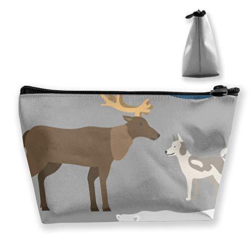 Alaska State Symbols Flat Style America Travel Animal National Artist Sac de rangement réglable pour cosmétiques, pinceaux de maquillage, produits de toilette
