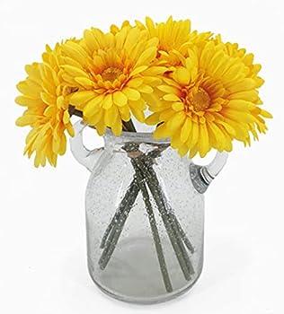 African Daisy Silk Flowers,Artificial Gerbera Daisies Pack of 10  Yellow