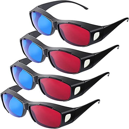 4 Pieces 3D Movie Game Glasses 3D Style Glasses for 3D Movies Games Light Simple Design, 3D Viewing Glasses (Red and Blue)