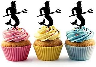 TA1117 Neptune Greek God Poseidon Silhouette Party Wedding Birthday Acrylic Cupcake Toppers Decor 10 pcs