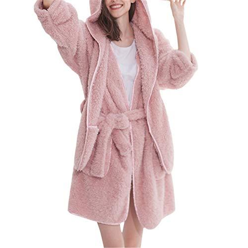 NgMik Mikrofaser-Bademantel Coral Fleece Nachthemd Damen Pyjamas...