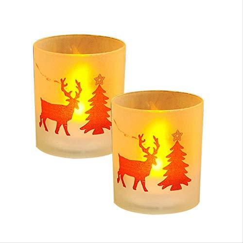 Luci LED a candela, luci LED per tè e tè, 2 pezzi, decorazioni natalizie a LED elettroniche a candela, luce creativa per la casa, bar, decorazione natalizia