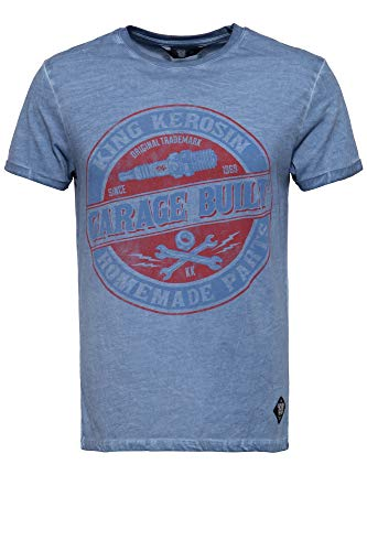 King Kerosin Garage Built Camiseta, Azul, S para Hombre