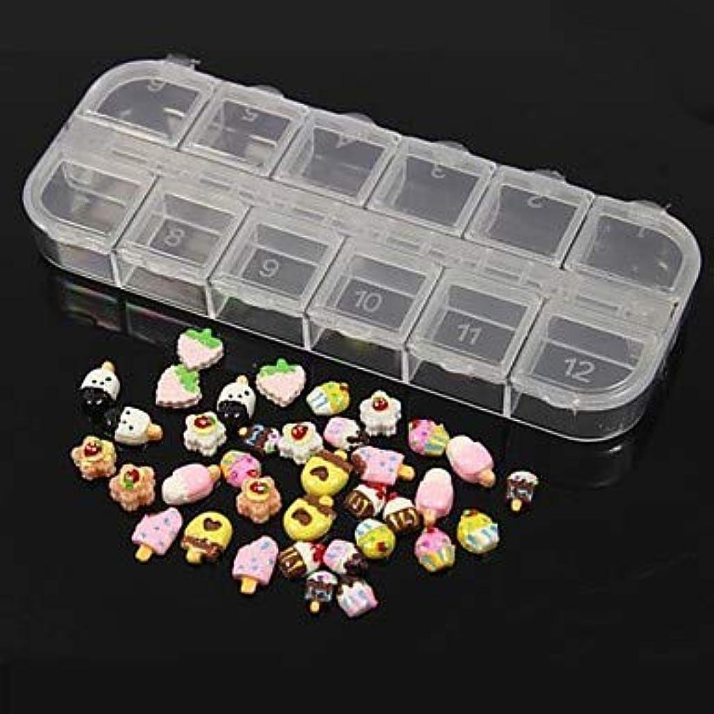 誘惑変動する既に36個12デザインランダムかわいいキャンディーアイスクリームアクリル樹脂セットネイルアートの装飾